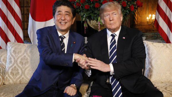 ABD Başkanı Donald Trump ve  Japonya Başbakanı Şinzo Abe Florida'daki  Mar-a-Lago yerleşkesinde bir araya geldi - Sputnik Türkiye