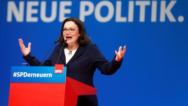 SPD'nin çiçeği burnunda lideri Andrea Nahles - Sputnik Türkiye