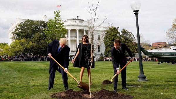 ABD Başkanı Donald Trump- First Lady Melania Trump- Fransa Cumhurbaşkanı Emmanuel Macron - Sputnik Türkiye