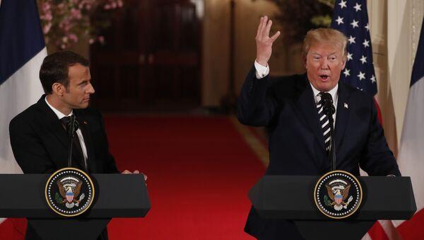 Mcaron ile Trump Beyaz Saray'da ortak basın toplantısında, 24 Nisan 2018 - Sputnik Türkiye