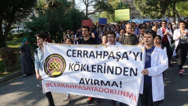 Cerrahpaşa Tıp Fakültesi öğrencileri eylem yaptı - Sputnik Türkiye