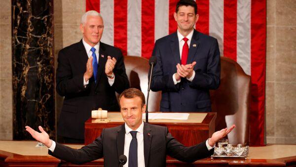 Fransa Cumhurbaşkanı Emmanuel Macron, ABD Kongresi'nde konuşma yaptı - Sputnik Türkiye