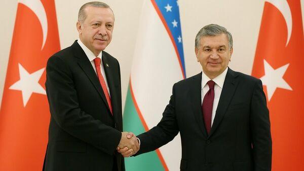 Cumhurbaşkanı Recep Tayyip Erdoğan - Özbekistan Cumhurbaşkanı Şevket Mirziyoyev - Sputnik Türkiye