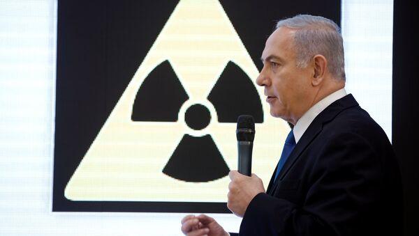 İsrail Başbakanı Benyamin Netanyahu Tel Aviv'de İran'ın nükleer programına dair iddialarla ilgili basın toplantısı düzenledi, 30 Nisan 2018. - Sputnik Türkiye