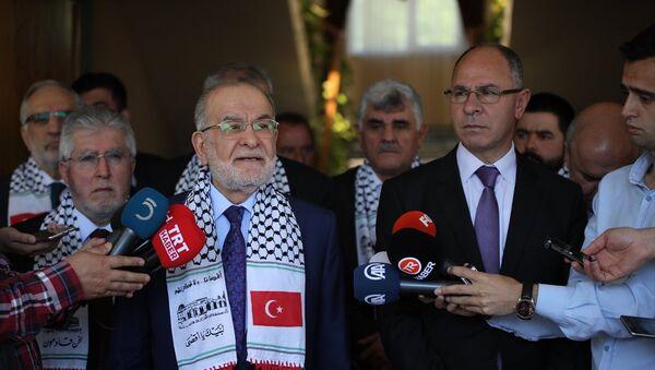Saadet Partisi Genel Başkanı ve cumhurbaşkanı adayı Temel Karamollaoğlu'nun Filistin Büyükelçiliği'ne ziyareti. - Sputnik Türkiye