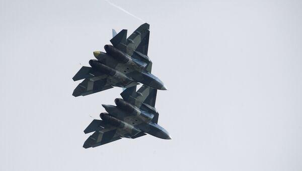 Russian Su-57 fifth-generation fighter aircrafts at the International Aviation and Space Salon MAKS-2017 - Sputnik Türkiye