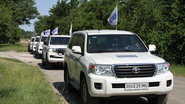 AGİT ve Donetsk Acil Durumlar Bakanlığı'na ait araçlar - Sputnik Türkiye