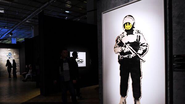 Graffiti sanatçısı Banksy eserleri Moskova'da - Sputnik Türkiye