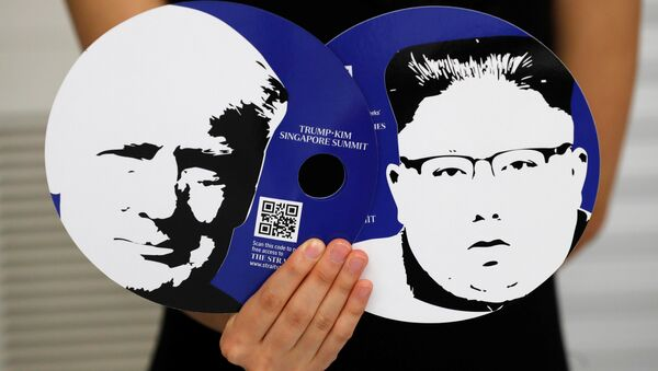 Singapur'daki medya merkezinde Trump-Kim zirvesini takip edecek gazeteciler için hazırlanan setten parçalar - Sputnik Türkiye