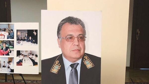 Duma'daki sergide yer alan  Rusya'nın eski Ankara Büyükelçisi Andrey Karlov'un portresi - Sputnik Türkiye
