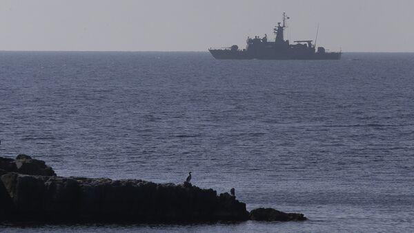 A Greek Navy warship patrols near the eastern Greek Island of Agathonisi and the nearby Turkish shores, on the Aegean Sea (File) - Sputnik Türkiye