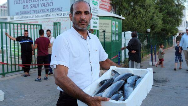Hatay'ın Kırıkhan ilçesi ile Doğu Guta'dan kaçarak Suriye'nin Afrin kırsalında kurulan çadır kente sığınan ihtiyaç sahibi Suriyelilere 20 bin balık dağıtıldı. - Sputnik Türkiye