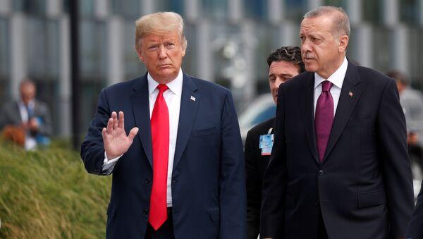 ABD Başkanı Donald Trump, Cumhurbaşkanı Recep Tayyip Erdoğan'la bir süre sohbet etti. - Sputnik Türkiye