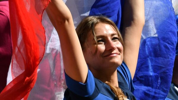 A female fan of the French national team during a group stage match at the FIFA World Cup 2018 between France and Australia. - Sputnik Türkiye