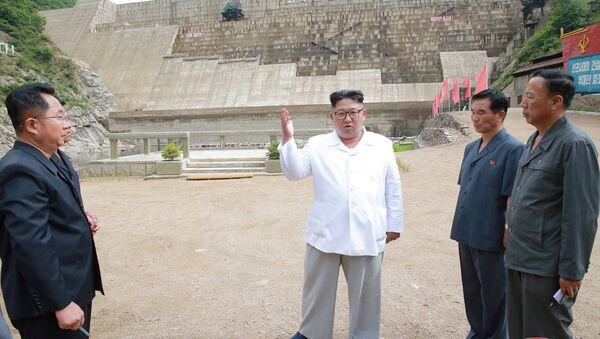 Kuzey Kore lideri Kim Jong-un  Orangchon Elektrik Santrali'ni teftiş ederken - Sputnik Türkiye