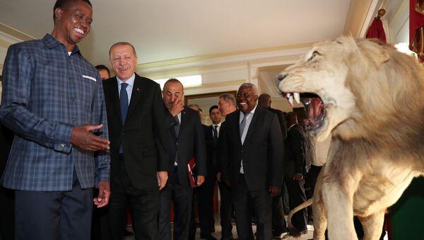 Zambiya Devlet Başkanı Edgar Lungu, Erdoğan'ı devlet sarayında ağırladı. - Sputnik Türkiye