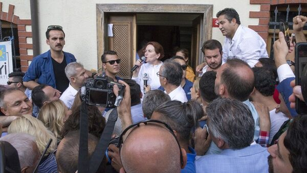 Meral Akşener, Üsküdar'daki evinin önünde nöbet tutanlara ''Partinin başındayım, geri döneceğim'' mesajı verdi. - Sputnik Türkiye