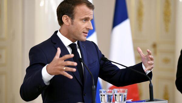 Fransa Cumhurbaşkanı Emmanuel Macron-Helsinki - Sputnik Türkiye