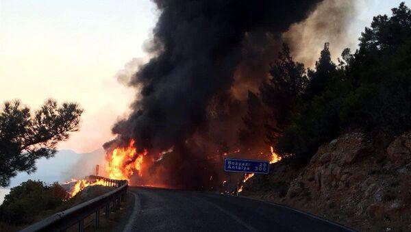 Hareket halindeki otobüste başlayan yangın ormanlık alana sıçradı - Sputnik Türkiye