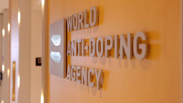 Picture of the logo of World Anti-Doping Agency (WADA)taken on September 20, 2016 at the headquarter of the organisation in Montreal. - Sputnik Türkiye