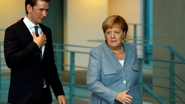 Almanya Başbakanı Angela Merkel ve AB dönem başkanlığını yürüten Avusturya Başbakanı Sebastian Kurz - Sputnik Türkiye