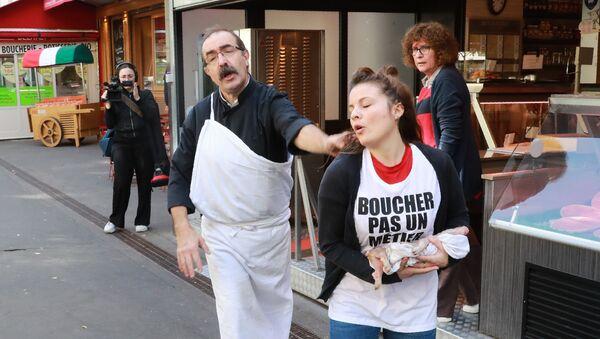 Paris'te vegan protestosu - Sputnik Türkiye