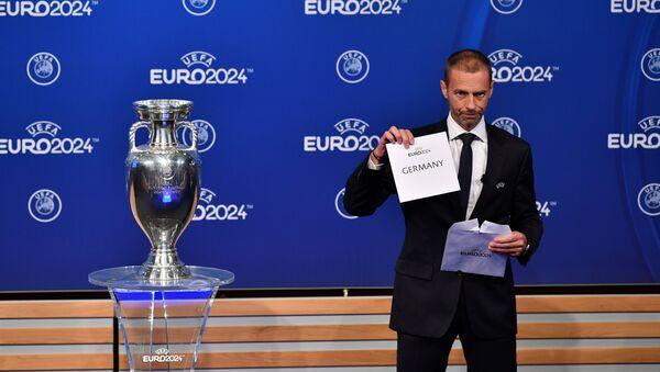 UEFA Başkanı Aleksander Ceferin Euro 2024'ü Almanya'nın kazandığını açıklarken üzgün gözüktü. - Sputnik Türkiye