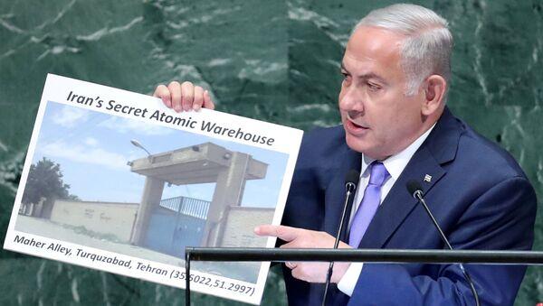 İsrail Başbakanı Benyamin Netanyahu 73. Birleşmiş Milletler Genel Kurulu'nda İran'ın Tahran yakınalrında gizli nükler tesisi olduğunu iddia etti - Sputnik Türkiye