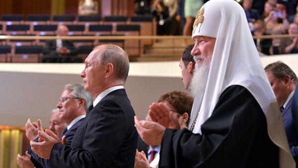 Rusya Devlet Başkanı Vladimir Putin- Rus Ortodoks Kilisesi Patriği Kirill - Sputnik Türkiye