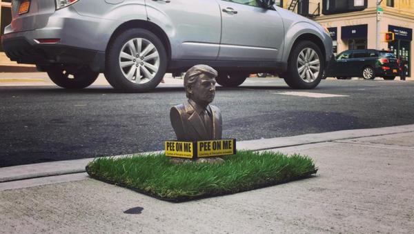New York'ta köpeklerin işeyebilmesi mini Trump heykeli açıldı - Sputnik Türkiye
