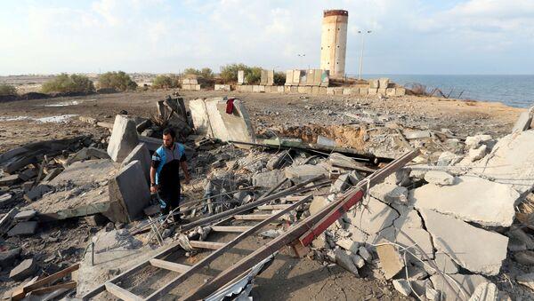 İsrail ordusunun Gazze'de vurduğu noktalardan biri - Sputnik Türkiye