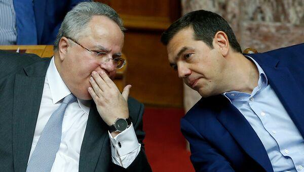 Yunanistan Dışişleri Bakanı Nikos Kocyas- Başbakan Aleksis Çipras - Sputnik Türkiye