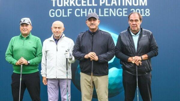 Dışişleri Bakanı Mevlüt Çavuşoğlu Turkcell Platinum Golf Challenge'da Türkiye Futbol Federasyonu (TFF) Başkanı Yıldırım Demirören, Cavit Yıldız ve TFF Başkan Vekili Nihat Özdemir karşı karşıya geldi. - Sputnik Türkiye