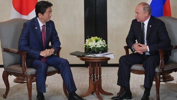 Japonya Başbakanı Şinzo Abe-Rusya Devlet Başkanı Vladimir Putin - Sputnik Türkiye
