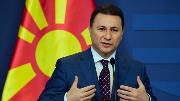 Macedonian then Prime Minister Nikola Gruevski gives a joint press conference with his Hungarian counterpart (not pictured) at the delegation hall of the parliament building in Budapest on November 20, 2015. - Sputnik Türkiye