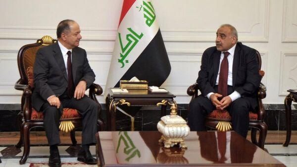 Eski Irak Kürt Bölgesel Yönetimi Başkanı Mesut Barzani ile Irak Başbakanı Adil Abdulmehdi - Sputnik Türkiye