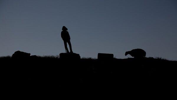 Yaklaşık 100 koyun ve keçiden oluşan bir sürüye bakan 13 yaşındaki Mervan - Sputnik Türkiye