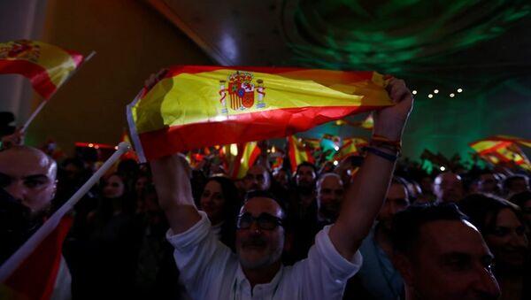 İspanya'nın güneyindeki Endülüs özerk bölgesinde yapılan yerel parlamento seçimlerinde 12 milletvekili Vox partisi destekçileri - Sputnik Türkiye