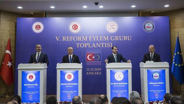 5. Reform Eylem Grubu (REG) Toplantısı - Berat Albayrak, Abdulhamit Gül, Süleyman Soylu, Mevlüt Çavuşoğlu - Sputnik Türkiye