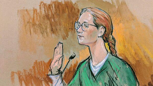 Washington'daki ABD Bölge Mahkemesi'nde yargılanan Rusya vatandaşı Mariya Butina'nın duruşma çizimi - Sputnik Türkiye