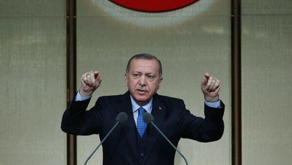 Cumhurbaşkanı Erdoğan, Beştepe'de düzenlenen muhtarlar toplantısında konuştu - Sputnik Türkiye