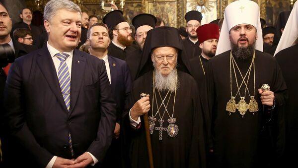 Fener Rum Patrikhanesi Patriği Bartholomeos - Ukrayna Ortodoks Kilisesi Başpiskoposu Yepifaniy Dumenko - Sputnik Türkiye