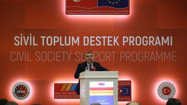 Dışişleri Bakanlığı Avrupa Birliği (AB) Başkanlığının faydalanıcısı olduğu, AB Katılım Öncesi Yardım Aracının (IPA) sivil toplum sektörü bileşeni altında desteklenen Sivil Toplum Destek Programının açılışı programı Ankara'da bir otelde yapıldı. Programda, Dışişleri Bakan Yardımcısı ve AB Başkanı Faruk Kaymakcı, konuşma yaptı. - Sputnik Türkiye