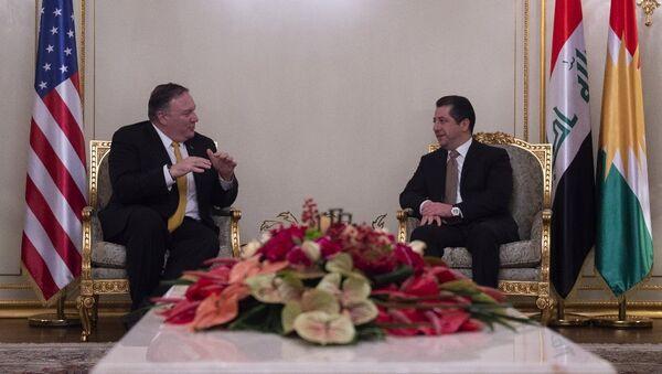 ABD Dışişleri Bakanı Mike Pompeo ve IKBY Güvenlik Ajansı Müsteşarı Mesrur Barzani - Sputnik Türkiye