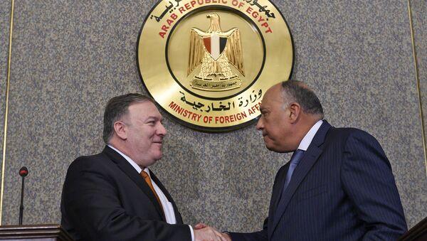 Mısır Dışişleri Bakanı Semih Şükri ve ABD Dışişleri Bakanı Mike Pompeo - Sputnik Türkiye