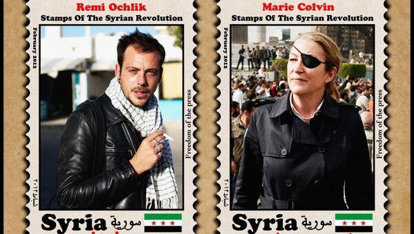 Emilie Blachere, sevgilisi Remi Ochlik ile Marie Colvin'in 2012 yılında Humus'ta ölmelerinin 4. yıldönümüne denk gelen 22 Şubat 2016'da bu paylaşımda bulunmuştu. - Sputnik Türkiye