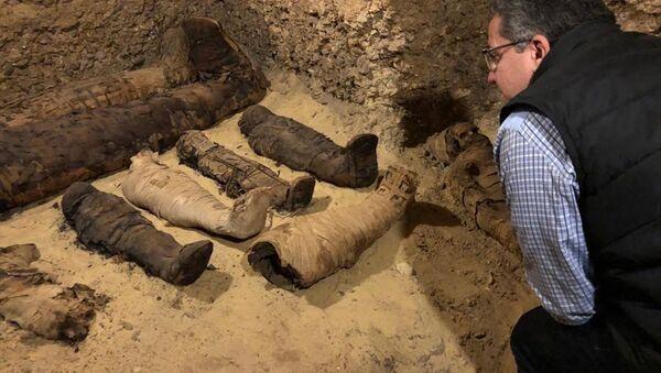 Mısır'ın Minye şehrinde tarihi mezarda 40 mumya ve diğer mezarlara açılan 3 kuyu tespit edildi. - Sputnik Türkiye