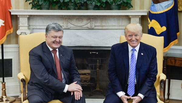 Ukrainian President Petro Poroshenko, left, and US President Donald Trump during their meeting - Sputnik Türkiye