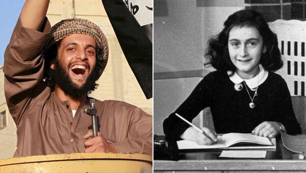 Suriye'de bir IŞİD savaşçısı (solda), Nazilerden saklandığı iki yıl boyunca yaşanan olayları günlüğüne yazdıktan sonra Naziler tarafından bulunup toplama kampında ölen Anna Frank (sağda) - Sputnik Türkiye