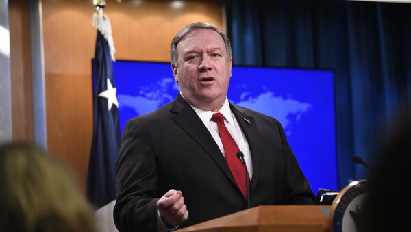 Secretary of State Mike Pompeo answers a question during a news conference on Tuesday, March 26, 2019, at the Department of State in Washington - Sputnik Türkiye